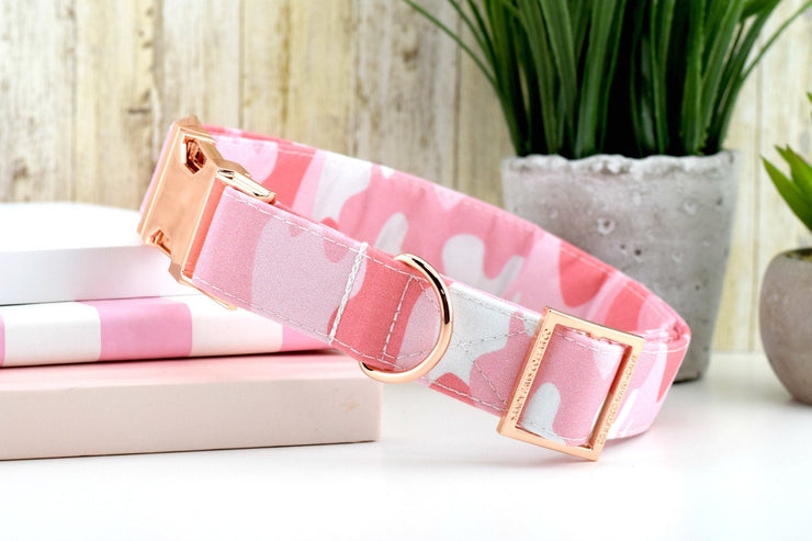 Camo Dog Collar - Pink ~ Camouflage Fashion Dog Collar ~ Fabric Dog Collar ~ Rose Gold Metal Hardware ~ Sandy Paws Collar Co