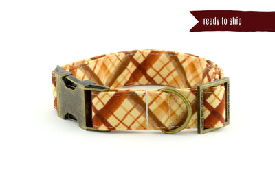 Watercolor Plaid Dog Collar - Brown/Rust/Tan - READY TO SHIP - Fall Dog Collar - Antique Bronze Metal Hardware - Sandy Paws Collar Co