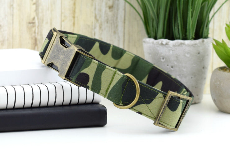 Camo Dog Collar - Green ~ Camouflage Fashion Dog Collar ~ Fabric Dog Collar ~ Antique Bronze Metal Hardware ~ Sandy Paws Collar Co