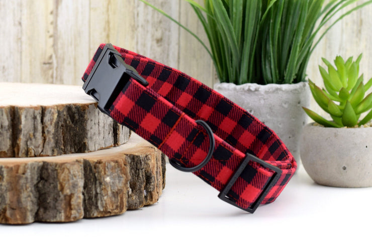 Buffalo Plaid Dog Collar - Red and Black Checked Fabric Dog Collar - Fashion Dog Collar - Matte Black Metal Hardware - Sandy Paws Collar Co