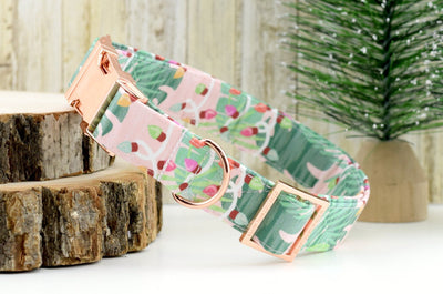 Tropical Christmas Dog Collar