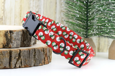 Snowman Dog Collar - Red, Green & White - Christmas Cotton Fabric Fashion Dog Collar - Matte Black Hardware - Sandy Paws Collar Co