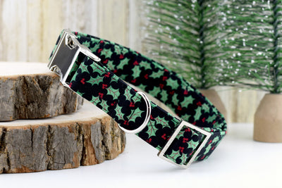 Holly Berry Dog Collar - Christmas Plaid Cotton Fabric Fashion Dog Collar - Silver Metal Hardware - Sandy Paws Collar Co