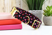Valentine's Day Dog Collar ~ Black, Red & Pink Heart Print Fabric Dog Collar ~ Yellow Gold Metal Hardware - Sandy Paws Collar Co