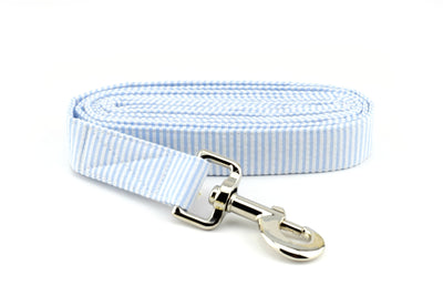 Seersucker Dog Leash - Light Blue & White ~ Seersucker Fabric Dog Leash ~ Silver Metal Hardware ~ Sandy Paws Collar Co