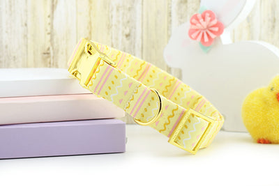 Easter Egg Hunter Dog Collar - Yellow ~ Easter Print Cotton Fabric Dog Collar ~ Yellow Gold Hardware ~ Sandy Paws Collar Co