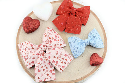 Sketched Heart Print Dog Collar Bow ~ Valentine's Dog Collar Bow Tie ~ Girly Dog Collar Bow ~ Slide On Bow for Collar ~ Sandy Paws Collar Co