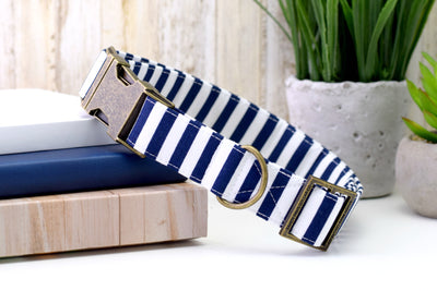 Striped Dog Collar - Navy & White