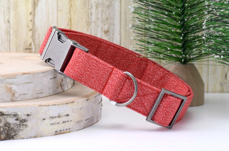 Dog Collar - Red with Silver GLITTER