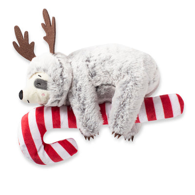 Sloth on a Candy Cane Dog Toy