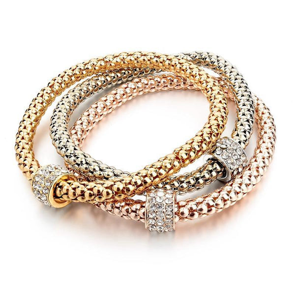 Stacking Tri-Tone Gold Plated Bracelets - Slackwater Cove