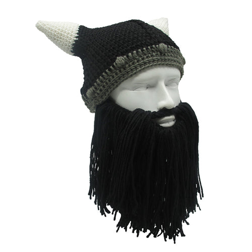 Knit Viking Hat with Long Beard and Horns