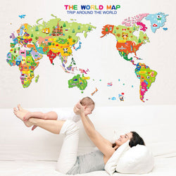 Colorful World Map Wall Decal - Slackwater Cove