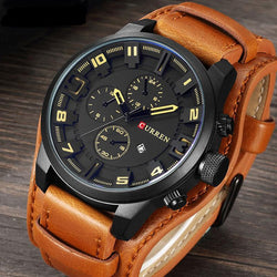 Bold, handsome Sport Watch with matte finish face and leather band. - Slackwater Cove