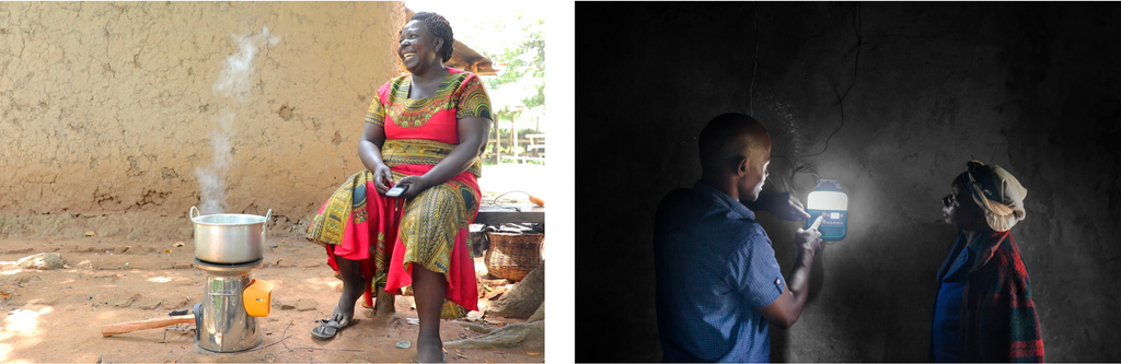 Side by Side Image of woman using homestove on left and two people using biolite solarhome 620 on right