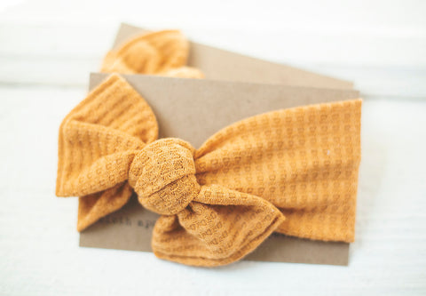 Golden Ember Cloth Knot Headwrap - Baby Headband - Baby Bow - Headwrap