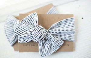 Black White Dash Cloth Knot Headwrap - Baby Headband - Baby Bow - Headwrap