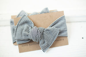 Black Charcoal Stripe Cloth Knot Headwrap - Baby Headband - Baby Bow