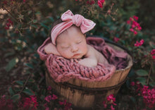 Load image into Gallery viewer, Mauve Velvet Cloth Knot Headwrap - Baby Headband - Baby Bow - Headwrap