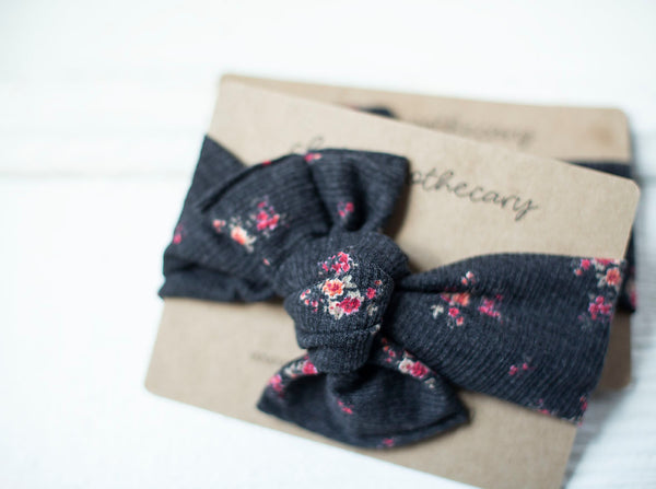 Black Flower Cloth Knot Headwrap - Baby Headband - Baby Bow