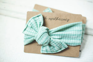 Minty Fresh Knit Cloth Knot Headwrap - Baby Headband - Baby Bow