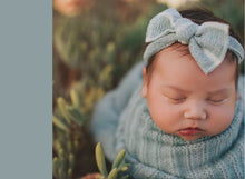 Load image into Gallery viewer, Green Flocked Cloth Knot Headwrap - Baby Headband - Baby Bow - Headwrap