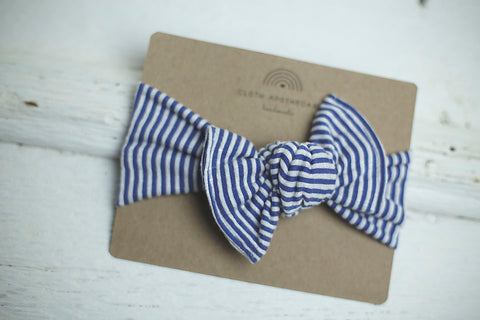 Cornflower Blue Ribbed Cloth Knot Headwrap - Baby Headband - Baby Bow