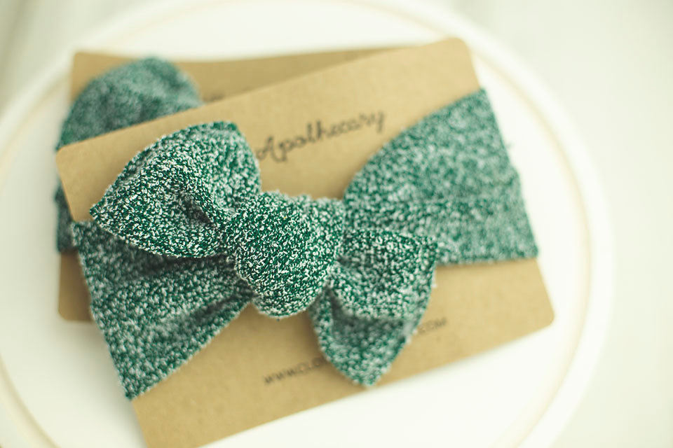 Green Flocked Cloth Knot Headwrap - Baby Headband - Baby Bow - Headwrap