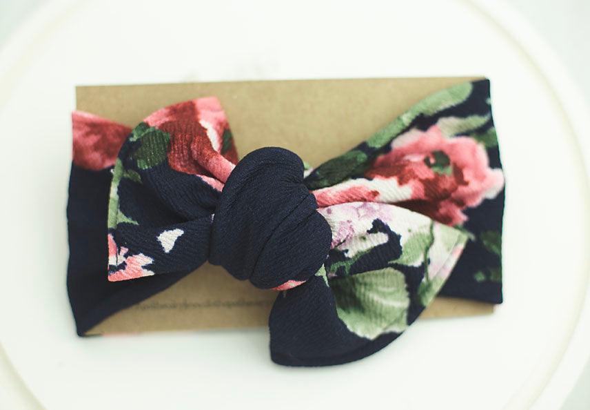 Navy Floral Cloth Knot Headwrap - Baby Headband - Baby Bow - Headwrap