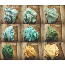 "Load image into Gallery viewer, the WRAP(long) - Rustic Cheesecloth Wrap - 99-102""inches - newborn wrap - Pick 1"