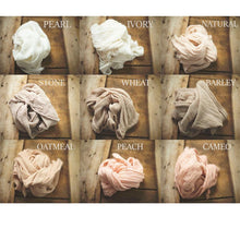 "Load image into Gallery viewer, the WRAP -WHOA Mega LONG- Rustic Cheesecloth Wrap - 149-152""inches - newborn wrap - Pick 3"