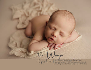 "the WRAP(long) - Rustic Cheesecloth Wrap - 99-102""inches - newborn wrap - Pick 4"