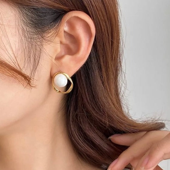 Faux Pearl Accent Ear Studs