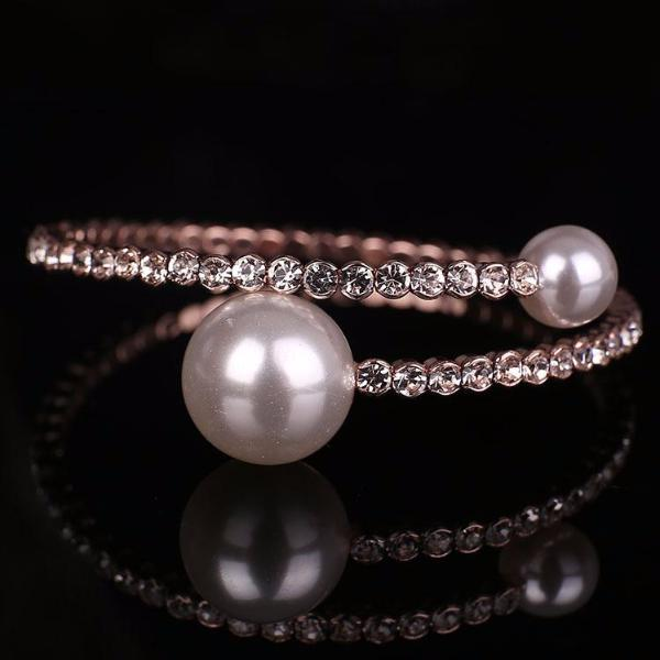 Crystal Cuff With Pearl Deco