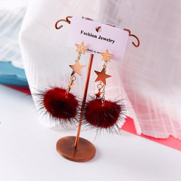 Burgundy Pompon Earrings with Gold Tone Star