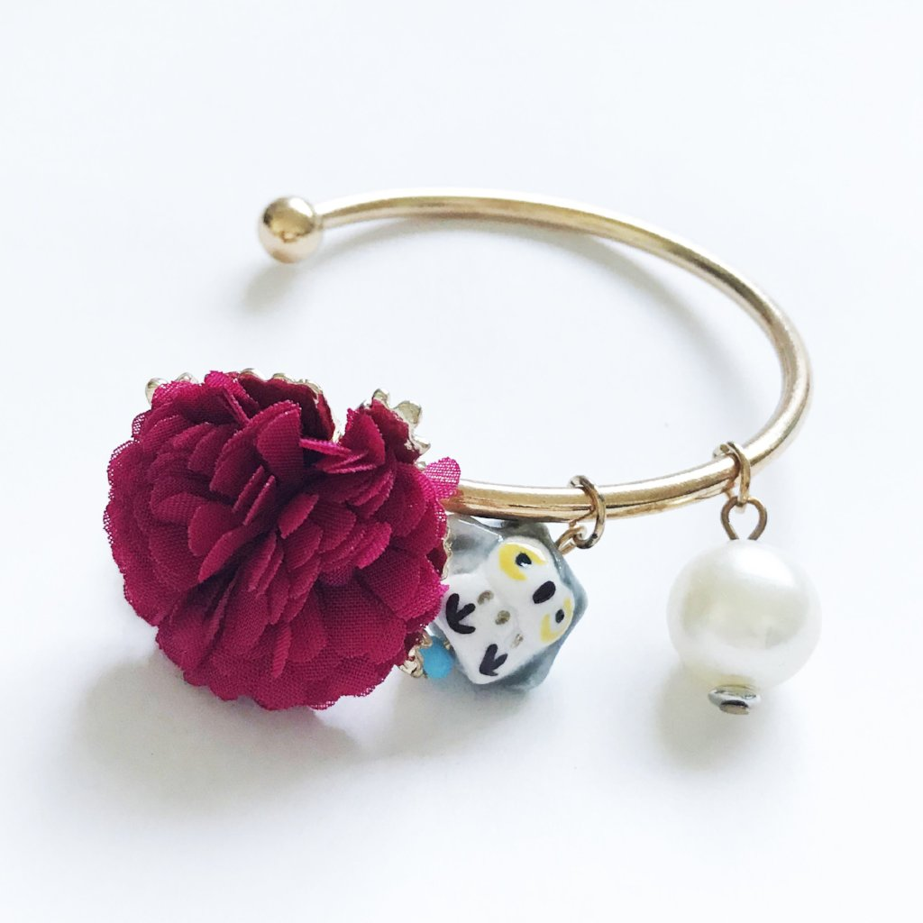 Gold Tone Cuff with Flower Deco