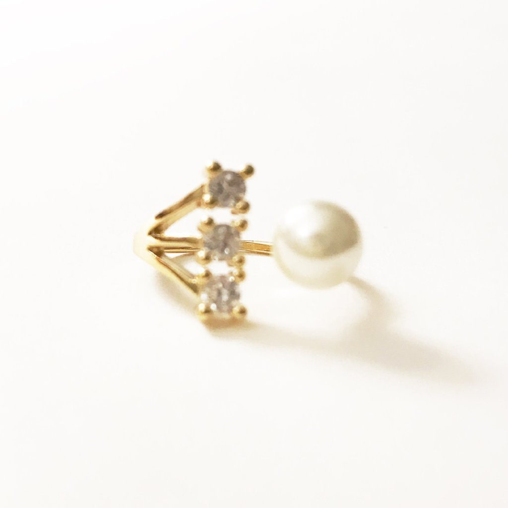 Starring Ring With Pearl Decoration -  Gold Tone