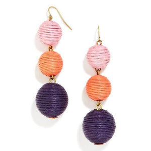Bohemian Style Multi Color Ball Drop Earrings