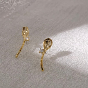 Exquisite Gold-plated Fork and Spoon Ear Studs