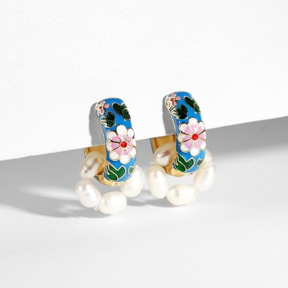 Vintage Style Enamel Flower Huggie Earrings