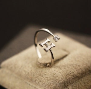 H Monogram Silver Ring With Crystal