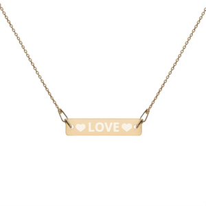 """LOVE"" Engraved Silver Bar Chain Necklace - NO-HURRY SHIPPING"