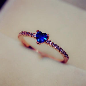 Romantic Zircon Stone Blue Heart Ring