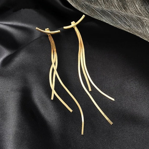 Minimalist Design Long Tassel Drop Earrings