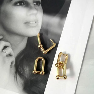 Chunky Chain Geometric Link Earrings