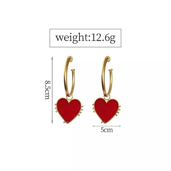 Red Heart Large Hoop Earrings