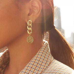 Gold Chunky Chain Drop Earrings