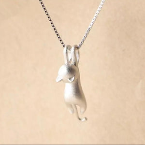 Sterling Silver Cute Cat Pendant Necklace