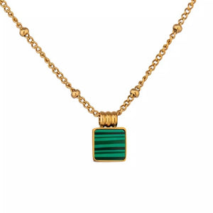Dainty Square Simulated Malachite Necklace