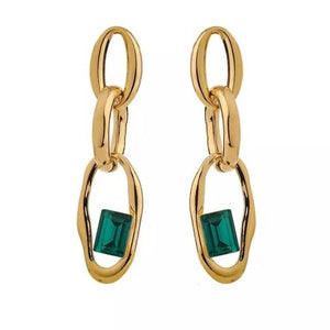 Dainty Green Crystal Detail Drop Earrings